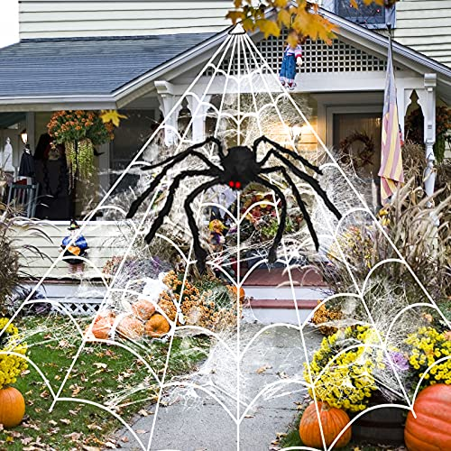 16 Ft Halloween Spider Web + 35.4″ Giant Spider and Stretch Cobweb Decorations Fake Spider Triangular Huge Spider Web for Indoor Outdoor Halloween Decorations Yard Home Costumes Parties House Décor