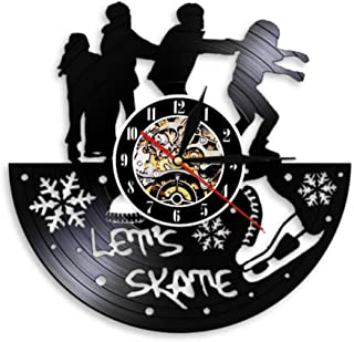 Fangminglei Let's Skate Freestyle Skating Party Club Christmas Decoration Gift Wall Clock Retro Vinyl Record Mute No Tick ...