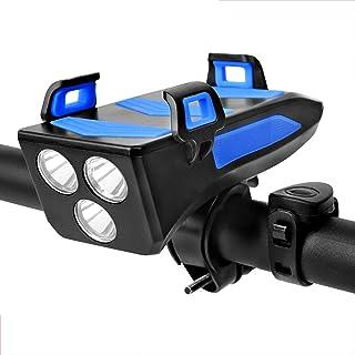 QIAO Luz Bicicleta LED 3Modos 2000mAh Delantera y Trasera USB Recargable Impermeable Faro Delantero con Soporte para Teléf...