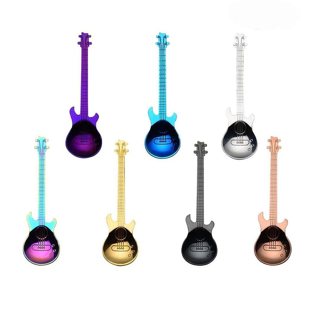 感染するホイッスル履歴書CUHAWUDBA ギターコーヒーティースプーン、7個入りカラフルなステンレススチール製音楽コーヒースプーン、ティースプーン、多色スプーン、シュガースプーン