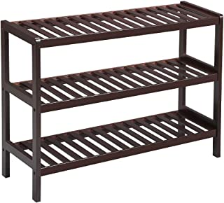 LANGRIA 3 Tier Bamboo Shoe Rack, Free Stand Storage Shelf for Boots Heels Bag Holder, Holds Up to 12 Pairs, 27.5 in W x 9.8 in D x 21.7 in H, Ideal for Entryway Hallway and More