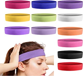 JJYHEHOT 12Pcs Sports Yoga Headbands for Women, Elastic Non Slip Fitness Hair Bands, Soft Stretch Sweatbands for Workout, Running, Gym