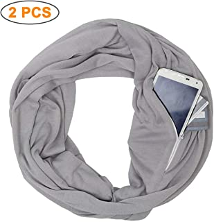 2 PCS Portable Scarf with Pocket Infinity Scarf Winter Autumn Travel Journey Scaves, Pop Fashion Scarves for Women, Girls, Ladies