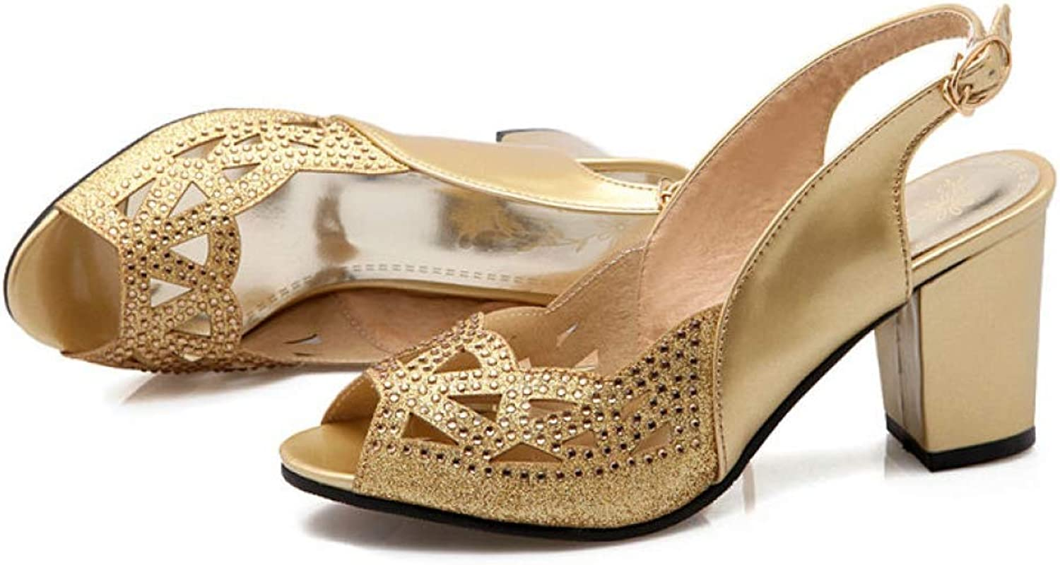 T-JULY Women's Sandals Open Toe Cut-Out Patent Leather Thick Block High Heels Slingback Sequin Rhinestone Summer Ladies shoes