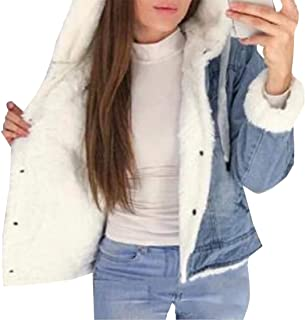 Womens Vintage Winter Fleece Lining Denim Jacket Long Sleeve Loose Jeans Coat