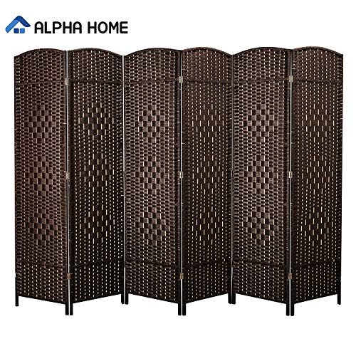 Buy Bargain ALPHA HOME 6 Panel Room Divider - 6 FT Tall Extra-Wide Handcrafted Weave Wood Framed Fol...