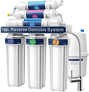 Membrane Solutions Reverse Osmosis System T2P,6-Stage RO Water Filter System with Alkaline Mineral pH+,100GPD Reverse Osmo...