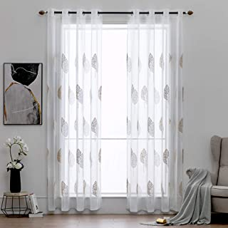 MIULEE 2 Panels Leaves Embroidery Sheer Curtains Grommet Window Curtain Semi Voile Drapes Panels for Living Room Bedroom 54