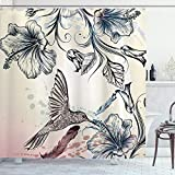 Ambesonne Hummingbird Shower Curtain, Floral Art in Vintage Style with...