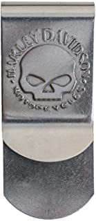 Carved One Shot Kill USA Flag Skull Tactical Satin Chrome Plated Metal Money Clip