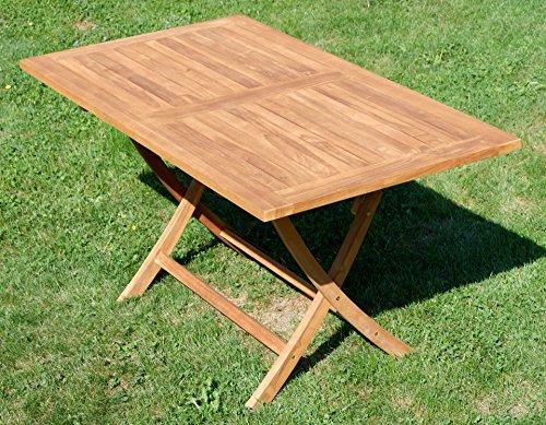 ASS ECHT Teak Holz Klapptisch Holztisch Gartentisch Tisch in verschiedenen Größen von Größe:140x80 cm - 6