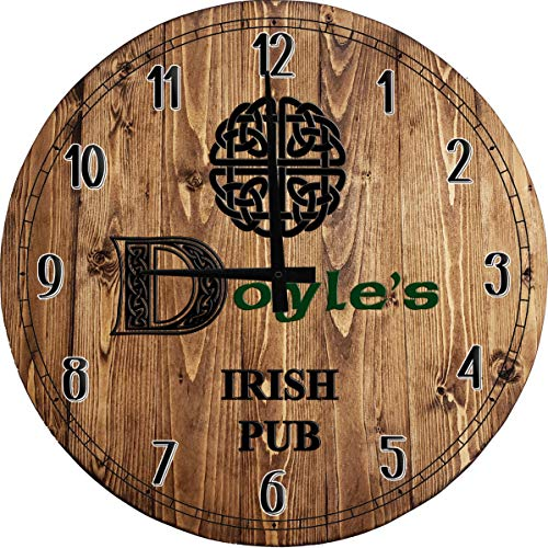 One Stop Gear Large Wall Clock Irish Celtic Knot Last Name Bar Sign Home Decor Classic Brown 14 inch Wall Decor