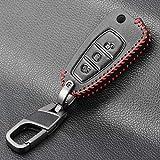 FFHJHJ Funda para Llave de Coche, Estilo de Coche, Llave de Cuero, Mando a Distancia, Funda para Llavero para Ford Fiesta Focus 3 4 MK3 MK4 Mondeo Ecosport Kuga Focus ST, botón con Tapa de 3 botone