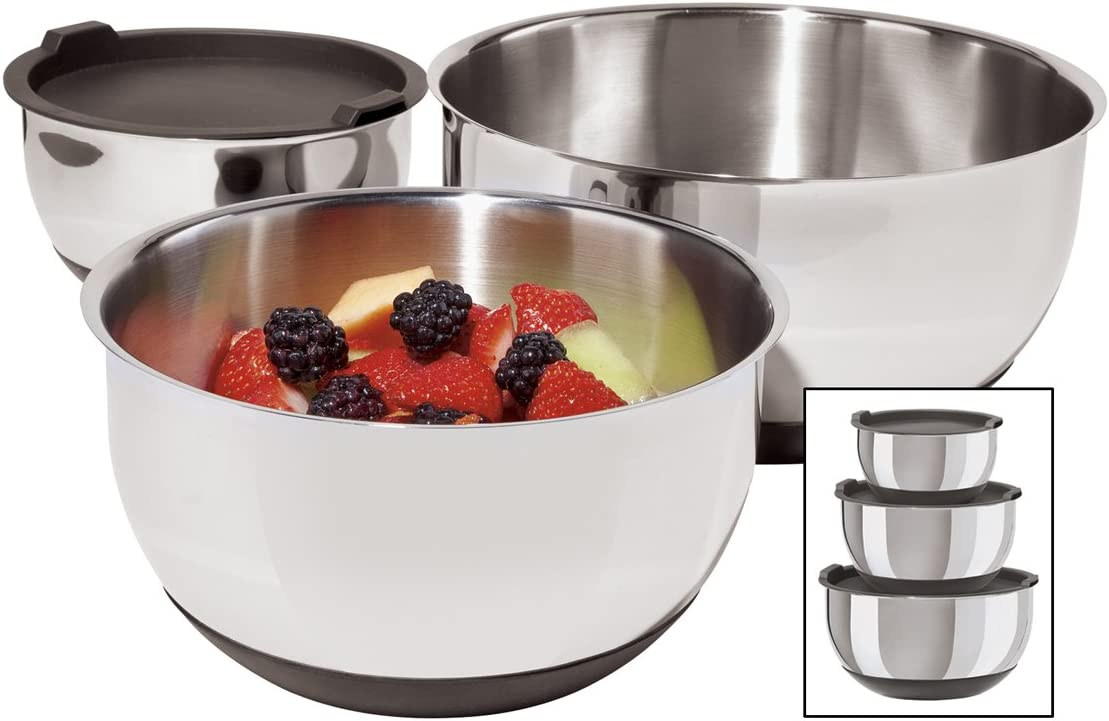 Oggi Stainless Steel 3-Piece Set with Now All items free shipping on sale Bowl Lids