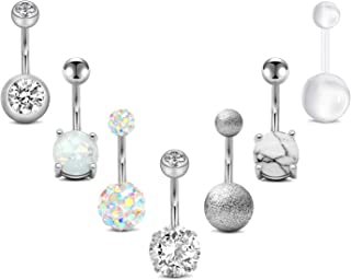 Sponsored Ad - FECTAS 14g Belly Button Rings Surgical Steel CZ with Retainers Navel Ring Barbell for Women Girls Body Pier...