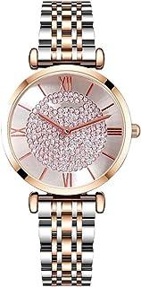 ساعة نسائية نسائية نسائية رسمية ساعة يد نسائية ساعة يد ساعة سيدات تناظرية حركة كوارتز بحزام فولاذي حجر الراين (اللون: أ)