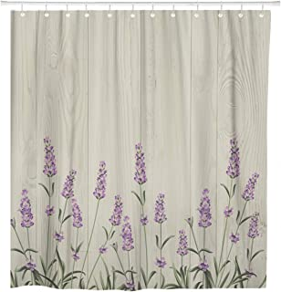 ArtSocket Shower Curtain Blue Aromatic Lavender Bouquet Date Herb Aroma Beautiful Birthday Home Bathroom Decor Polyester Fabric Waterproof 72 x 72 Inches Set with Hooks