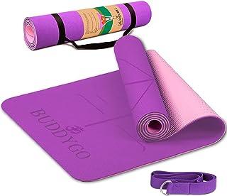 BUDDYGO Yogamatta, 6 mm yogamatta TPE miljövänlig halkfri träningsmatta med bärrem och yogaband, fitnessmatta för yoga, tr...