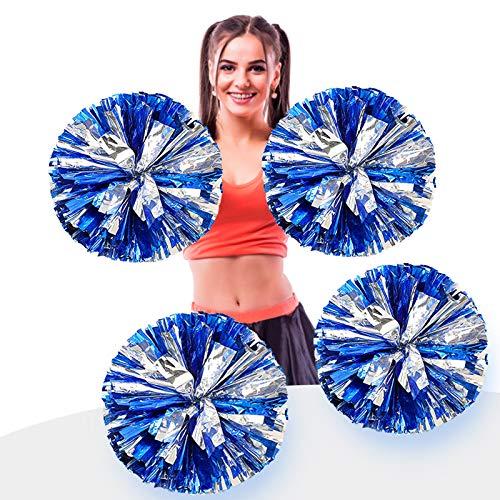 AUHOTA 4 Stück Metallfolie Cheerleading Pom Poms, Cheerleader Pompons Handblumen zum Sport Cheers Ball Dance Kostüm Nacht Party Team Spirit (6 Zoll) (Blau/Silber)