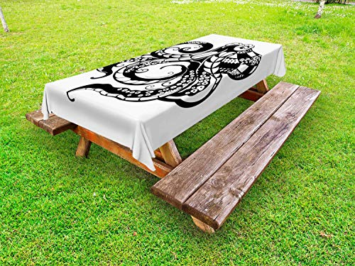 ABAKUHAUS Octopus Tafelkleed voor Buitengebruik, Sier Sea Animal Afbeelding, Decoratief Wasbaar Tafelkleed voor Picknicktafel, 58 x 84 cm, Wit en Charcoal Grey