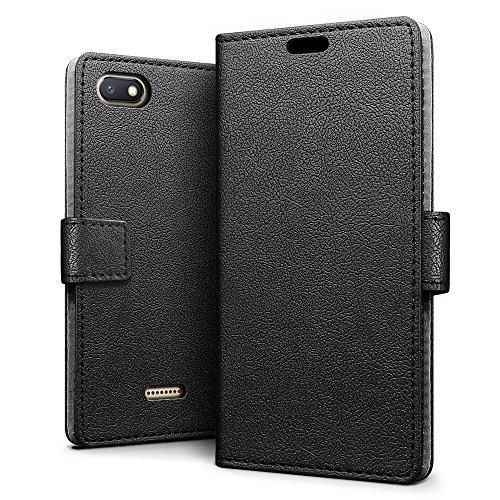 SLEO Hülle für Xiaomi Redmi 6A Hülle,PU lederhülle [Vollständigen Schutz] [Kreditkartenfach] Flip Brieftasche Schutzhülle im Bookstyle für Xiaomi Redmi 6A- Schwarz