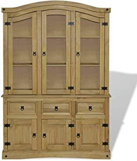 Mexican 'Corona' Style Design Sideboard Cupboard Unit Cabinet Mexican Pine Corona Range Side Board Buffet & Hutch w/Drawers Accent Wood Furniture Any Room Home Decor