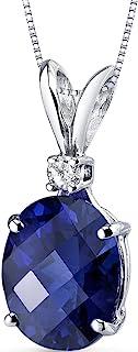 14 Karat White Gold Oval Shape 3.50 Carats Created Blue...