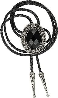 Bolo tie for men,Black Native American western cowboy neckties (black)
