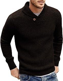 FUERI Mens Shawl Collar Jumper Fine Knit Cotton Pullover Lightweight Slim Fit Sweater Knitwear Winter Outwear Top