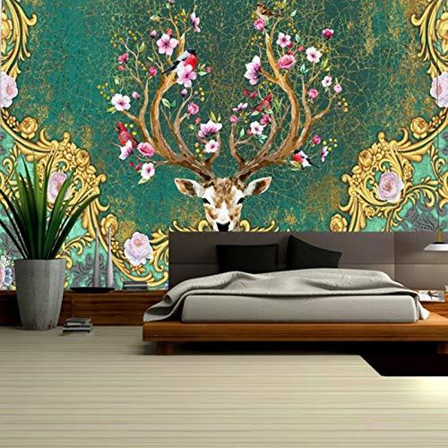350x245cmHD Papel pintado no tejido, Papel tapiz floral vintage para la venta...