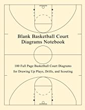 Blank Basketball Court Diagrams Notebook: 100 Full Page Basketball Court Diagrams for Drawing Up Plays, Drills, and Scouting
