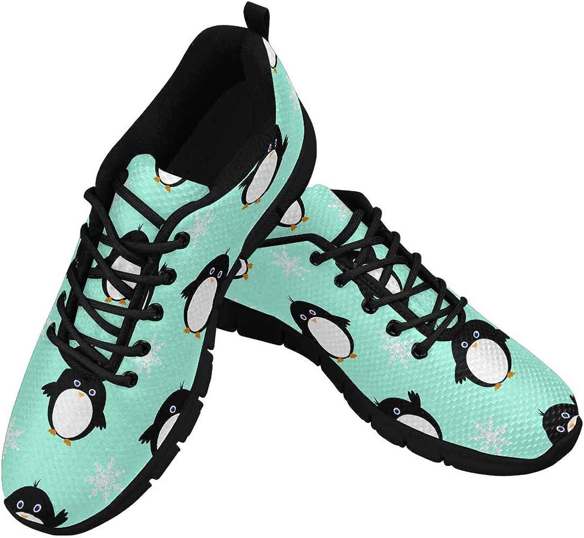 InterestPrint Cartoon Penguins Women's Walking Shoes Lightweight Casual Running Sneakers