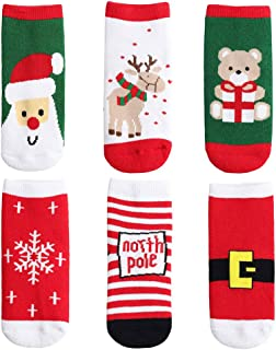 Yafane Calcetines de Navidad calcetín Lindo de algodón Animal de Dibujos Animados Reno de Santa Claus Unisex 6 Pares Calce...