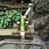 zlb Bamboo Accents Springbrunnen ,Solar Springbrunnen FüR Den Garten Bambus Wasserspiel Auslauf Mit Pumpe Gartendekoration Skulptur Deko Statuen,50cm