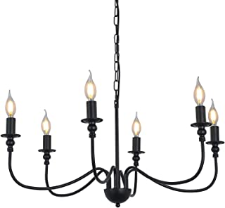 6-Light Farmhouse Chandelier Black Dining Room Lighting...