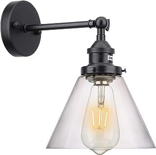 Lovebay Abat-Jour en Verre Applique Réglable Vintage Retro Verre Lampe Murale Intérieur Luminaire Murale E27 Rétro Industr...