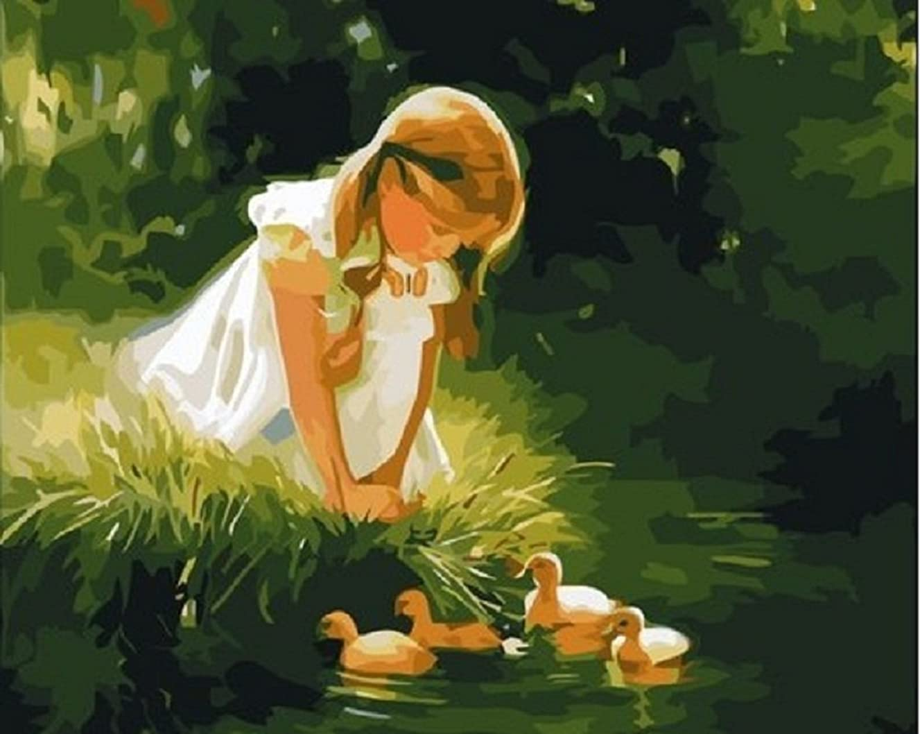 Oil Painting for Adults Kids Paint By Number Kit Digital Oil Painting Play with Duck 16X20 Inches