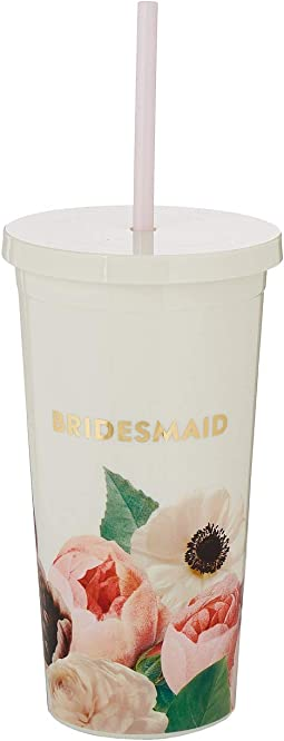 Blushing Floral Bridesmaid Tumbler with Straw