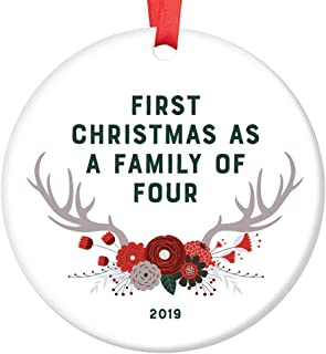 """New Baby Gift 2019 Ornament Dated First Christmas as a Family of Four Parents Mother Father Present Second Child Shower Sprinkle Woodland Theme Boho Antlers Glossy Ceramic 3"""" Flat Circle Red Ribbon"""
