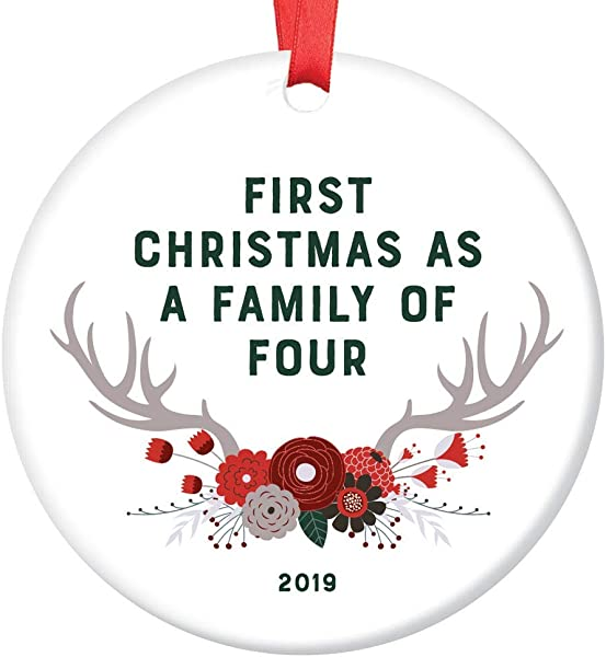 New Baby Gift 2019 Ornament Dated First Christmas As A Family Of Four Parents Mother Father Present Second Child Shower Sprinkle Woodland Theme Boho Antlers Glossy Ceramic 3 Flat Circle Red Ribbon