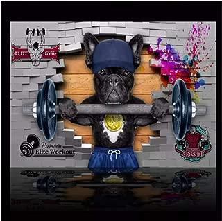 Wemall 3DNon-Woven Foto Dibujado a mano Perro Levantamiento de pesas Útiles para empapelar Papel pintado Dibujos animados modernos de la pared de ladrillo, 350x245 cm (137.8 por 96.5 pulg.)