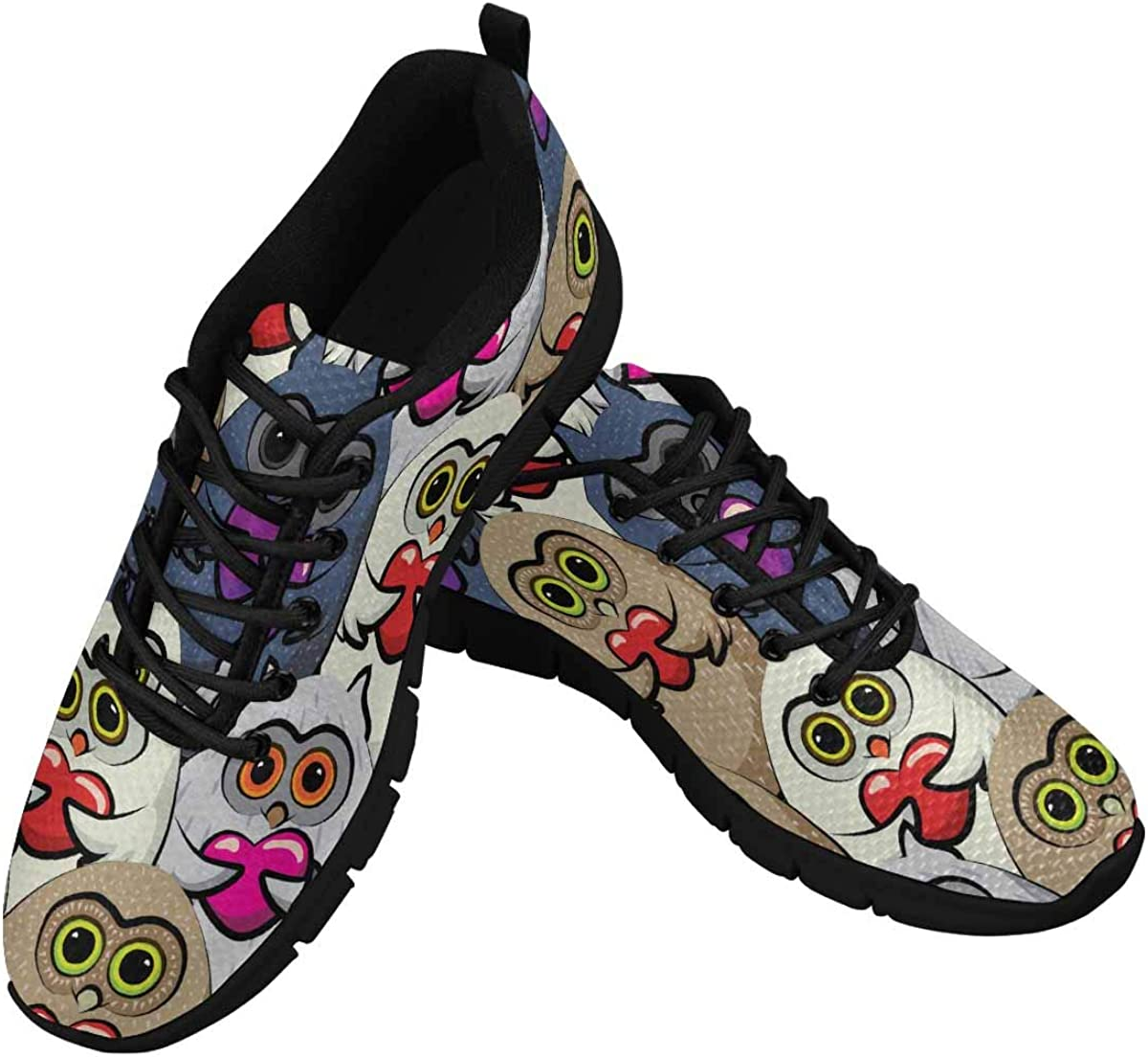 INTERESTPRINT Colorful Owls with Hearts Lightweight Mesh Breathable Sneakers for Women