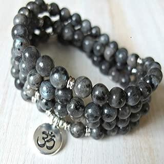 ZHNA 108 mala Black Moonstone Om Mala Bracelet or Necklace,
