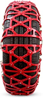 Snow Chains Anti-Skid for Tyres Portable Easy to Mount Emergency Traction (Color : A2-Red, Size : 155/70 R12)