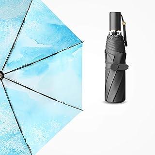 QCRLB Manual Folding Umbrella UV Protection Folding Umbrella Ultralight Portable/Pink Blue Optional Umbrella (Color : Blue)