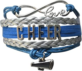 Cheer Charm Bracelet- Infinity Love Adjustable Cheerleading Jewelry in Team Colors for Cheerleader