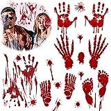 VZATT Etiqueta de la Ventana de Halloween Más Asustadizo Etiqueta Decoración De La Pared De Cristal De La Mano De Sangre Sangre Etiqueta (Rojo)
