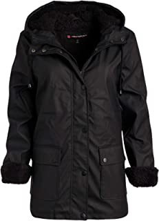 Urban Republic Ladies Hooded Vinyl Rain Jacket with Fur Lining (Plus