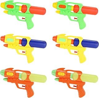 Fun-Here Water Guns 9 Inch 6 Packs for Kids Adults Multicolor Squirt Gun in Party Pool Bath Favors Indoor Outdoor Funy Summer Toy (Pack of 6)