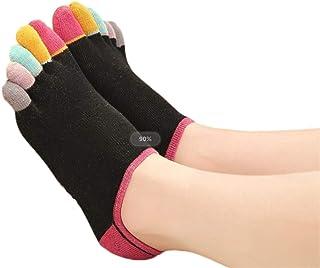 5PCS Cinco dedos calcetines color de las mujeres tubo corto transpirable calcetines Cinco dedo del pie dedo del pie calcetines lindo salvaje de Split Suave